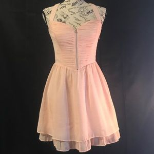 Guess Pink Girly Fit & Flare Halter Dress Ruffles